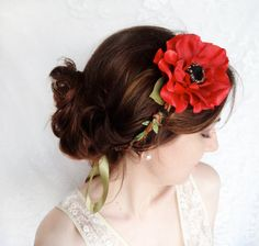 red poppy hair accessory poppy wedding red flower by thehoneycomb, $55.00