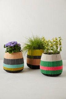 Striped Fiberglass Pot.