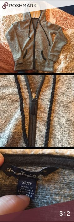 Zip up hoodie Grey and navy zip up hoodie, warm, good quality, draw strings are braided rope American Eagle Outfitters Tops Sweatshirts & Hoodies