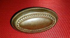 Vintage Doorknob Beaded Oval Metal Brass Antique Door Knob