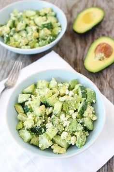 1 large seedless cucumber, chopped 3 large avocados, pit removed and chopped Juice of 1 lemon 1/3 cup crumbled feta cheese 1 tablespoon finely chopped fresh dill Salt and black pepper, to taste