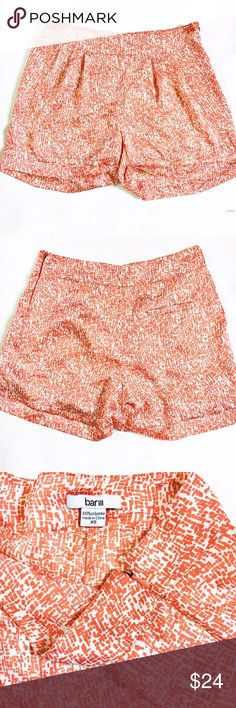Bar III orange and white shorts These shorts are 100% polyester super light weight with a side zipper and one back pocket. These are super cute and perfect for a summer day! Bar III Shorts