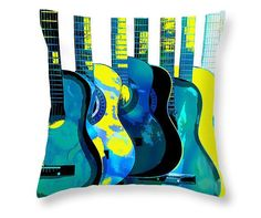 Blue Guitar Pillow Music Instrument Art Home Decor Throw Pillow Decorative Abstract Art Dorm Decor Musician Gift Aqua Yellow Green