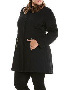 Plus Size Jackets, Coats & Blazers Faux Fur Collar, Fur Collars, Wrap Coat, Black Animals, Long A Line, Winter Wardrobe, Coats For Women, High Neck Dress, Stuff To Buy