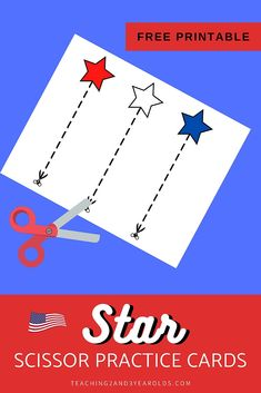 It's easy to strengthen cutting skills with these star scissor practice printable cards! Simply download the free printable for a nice and calm fine motor activity. #finemotor #cutting #scissors #skills #printable #preschool #4thofjuly #independenceday #stars #3yearolds #teaching2and3yearolds 3 Year Old Activities, Small Group Activities, Motor Activities, Preschool Activities, Printable Star, Printable Cards, Printables, Scissor Practice, Scissor Skills