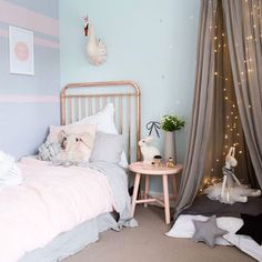 Pretty room in pale greys, blues and pinks