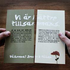 #Creative #wedding #invitation in print. Design by Björn Berglund Creative Studio, www.bjornberglund.com