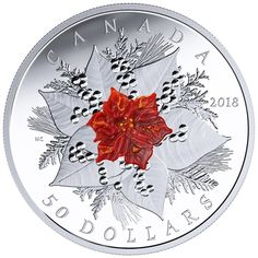 Pure Silver Coin with Murano Glass - Holiday Splendour - Mintage: Canadian Gold Coins, Canada Holiday, Flower Stamp, Rare Coins, Silver Dollar, Coin Collecting, Silver Coins, Cool Things To Buy, The Originals