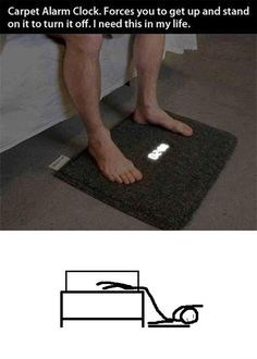 Carpet Alarm Clock - You must stand on it to turn off...I need to buy for my step son - LOL!