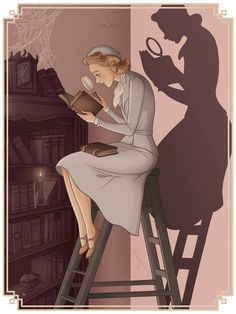 """""""Not related to the games, but I thought I'd share the drawing I did to celebrate Nancy's anniversary! Snuck in references to five of the classic covers, as well as the silhouette of course."""" - by artist Marilyn Michaelis #NancyDrew"""