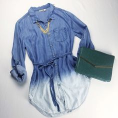 "2x HP Dip-dyed Chambray Tunic Soft chambray tunic from Holding Horses with a front pocket and removable sash. • Button down • Length 35"" • Bust 20"" • 100% Tencel Anthropologie Tops Tunics"