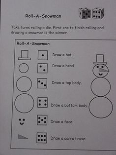 Roll a snowman game first one to roll all six and draw a snowman snowman activities snowman dice game ive heard of this before but this makes it so easy for even a little one to do solutioingenieria Images