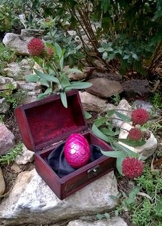 Pink Dragon Egg in Wooden Chest Magenta Dragon Egg by DesignByWendyBgd Green dragon egg, fantasy art decor, cosplay prop, costume accessory, 3 inch dragon egg by DesignByWendyBgd #dragoneggs #dragons #fantasy #geek #geekdecor #fantasy art #fantasydecor #costume #costumeaccessories