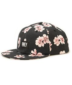 935092687918 Obey In Bloom Floral Strapback Hat Obey Cap, Flex Fit Hats, Strapback Hats,