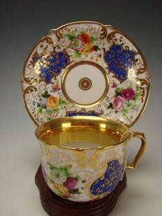 Antique F&B Flight Barr English Worcester Porcelain 18c Gilt Cup Saucer