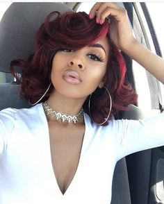 12 Inch Wavy Wigs For African American Women The Same As The Hairstyle In The Picture cd - Wigs For Black Women - Lace Front Wigs, Human Hair Wigs, Short Wigs, Curly Wigs, Bob Wigs Long Wigs, Short Wigs, Red Bob Hair, Brown Hair, Wig Styling, Curly Hair Styles, Natural Hair Styles, Pelo Afro, Pelo Natural