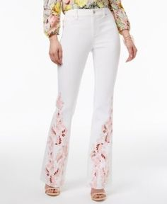 Inc International Concepts Embroidered Flare-Leg Jeans, Only at Macy's - White 18