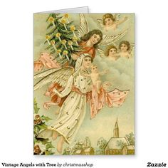 Vintage Angels with Tree Greeting Card