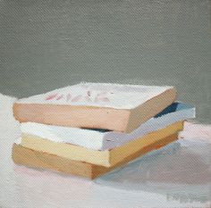 4x4 oil on canvas painting  Book Stack 3 by ElizabethMayville