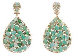 Yanes- pendientes de plata dorada con esmeraldas y calcedonias.