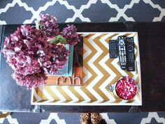 this is a great trend, easy to make and change up - perfect for my bedroom dresser. From meet mina.: DIY: Chevron Tray