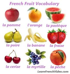 list of fruits in french French Phrases, French Words, How To Speak French, Learn French, Teaching French Immersion, High School French, Fruit List, Food Vocabulary, Core French