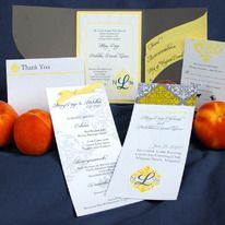 Yellow and Grey Damask with a touch of Argyle Wedding Invitation