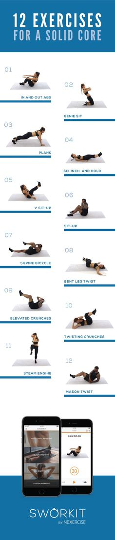 12 Exercises for solid core .. #fitness #fitnessforwomen