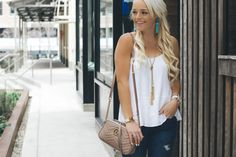 White tank - gold necklace and Gucci bag - Urban Blonde blog