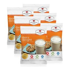 Each pouch is 6 servings of a low fat milk alternative, has a 25 year shelf life and all you need to do is add water.