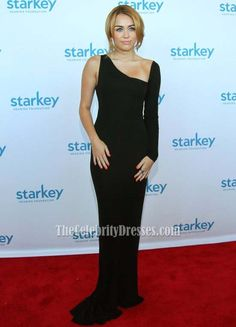 Miley Cyrus Chic Black Red Carpet Prom Gown Evening Formal Dress