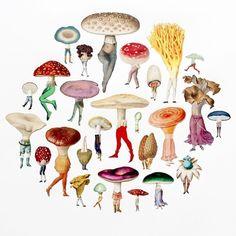 "7,260 kedvelés, 135 hozzászólás – the jealous curator (@thejealouscurator) Instagram-hozzászólása: ""Ahhh, mushroom people ❤️ ... weird and whimsical collages by @naturemorph (Amy Ross) on the site…"""
