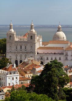 View from Castelo São Jorge, Igreja São Vicente de Fora, built from 1582 to 1629, Portugal