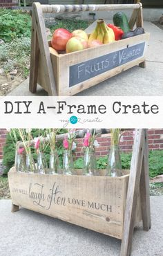 A crate made out of scraps of wood is a great addition to your home decor. Use it in the kitchen, the pantry, dining room and more. home decor & diy Scrap Wood Projects, Diy Projects To Try, Furniture Projects, Wood Tool Box, Wooden Tool Boxes, Cuisines Diy, Do It Yourself Furniture, Deco Originale, Wooden Crafts