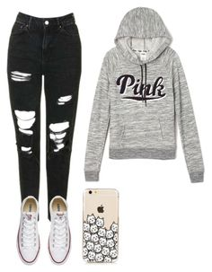 """""""Going to the movies"""" by zaicute on Polyvore featuring Topshop, Victoria's Secret and Converse"""