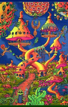 """Pixie Party "" psychedelic fluorescent backdrop print on fabric. Original artwork, each piece is first hand printed using silkscreen & then hand-colored by our team of highly talented Balinese batik artists. Disney Art Drawings, Trippy Drawings, Psychedelic Art, Psychedelic Fashion, Trippy Wallpaper, Stoner Art, Psy Art, Mushroom Art, Hippie Art"