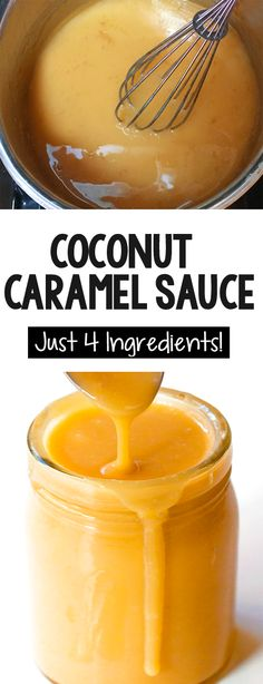 How to make caramel from a can of coconut milk coconutmilk glutenfree health homemade desserts 24 healthy ways to use a can of coconut milk Coconut Caramel Recipe, Vegan Caramel, Coconut Milk Recipes, Caramel Recipes, Canned Coconut Milk, Vegan Dessert Recipes, Vegan Sweets, Cooking Recipes, Homemade Desserts