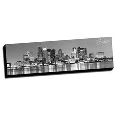 Picture it on Canvas Panoramic Cities Boston City Photographic Print on Wrapped Canvas