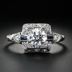 1.00 Carat Art Deco Diamond Engagement Ring - 10-1-4156 - Lang Antiques