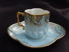 Porcelain Demitasse Cup and Saucer, Blue with Gold Decoration from amazingfinds on Ruby Lane