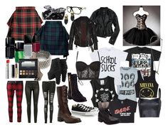 """""""GRUNGE SHOOT: avril lavigne outfit"""" by drownyourfears ❤ liked on Polyvore featuring Vivienne Westwood Anglomania, FAUSTO PUGLISI, Marc by Marc Jacobs, Dune Black, Boohoo, Aéropostale, House of the Gods, AllSaints, Forever 21 and Alex and Chloe"""