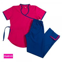 Jazmín Poly BIS fucsia con azul francia NUEVO Scrubs Uniform, Medical Uniforms, Bae Goals, Diy Couture, Medical Scrubs, Office Fashion, Work Wear, Pajama Pants, Suits