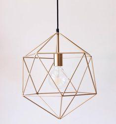 Gold Pendant Light Chandelier Lighting Geometric Polyhedron   Etsy