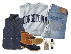 """""""First day of fall!!!🍂🍁"""" by keileeen ❤ liked on Polyvore featuring Hollister Co., Champion, J.Crew, L.L.Bean, Casetify and Kate Spade"""
