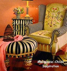 Mackenzie Child designs-always love looking at her crazy combinations, reminds me of Alice in Wonderland for some reason.