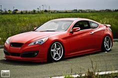 Red Hyundai Genesis Coupe on Volk GT-S wheels