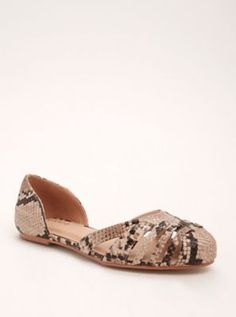 Wide Snake Cutout D'Orsay Flats in Brown - Wide Width