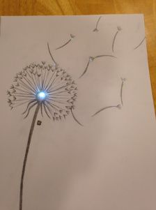 Project ideas from Chibitronics - Sweet sound-activated dandelion poster by Katy Gero!