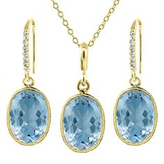 21.00 Ct Blue Topaz 14x10mm Oval Shape Gold Plated Silver Jewelry Set 18' Chain ** Check out this great product.-It is an affiliate link to Amazon.