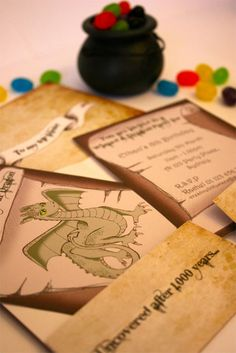 Dragon birthday - Like the bottles and invites
